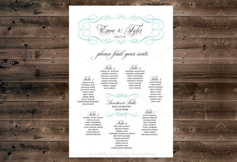 Wedding Seating Chart - Krystals Wedding Invitations