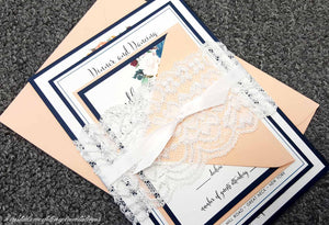 Chic Lace Wrapped Ribbon Wedding Invitations - Krystals Wedding Invitations