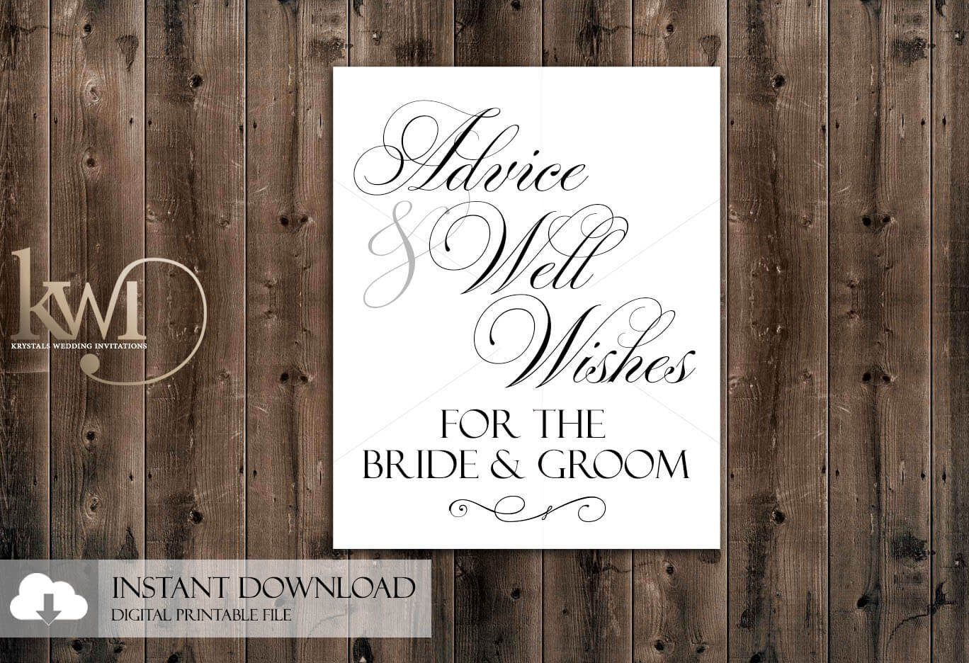 DIY Printables - 8x10 - Advice & Well Wishes for the Bride and Groom Sign - Krystals Wedding Invitations