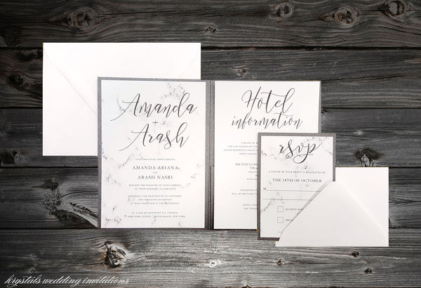 Marble Pocketfold Wedding Invitations - Krystals Wedding Invitations