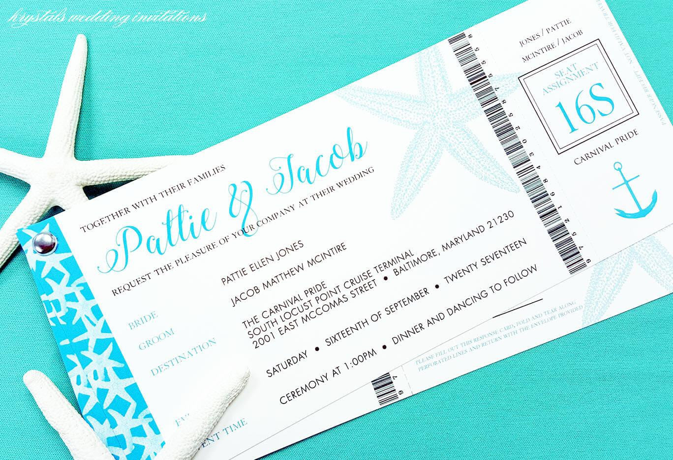 The Cruise Suite - Ticket/Beach Style Wedding Invitation Suite - Krystals Wedding Invitations