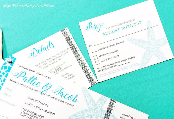 Cruise Ticket Style Wedding Invitations