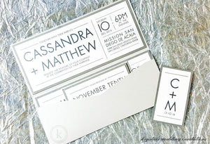 The Cassandra Suite - Modern Sparkle Glitter Pocketfold Wedding Invitation Suite - Krystals Wedding Invitations