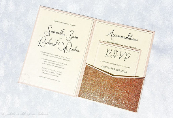 Blush Wedding Invitations - Glitter - Krystals Wedding Invitations