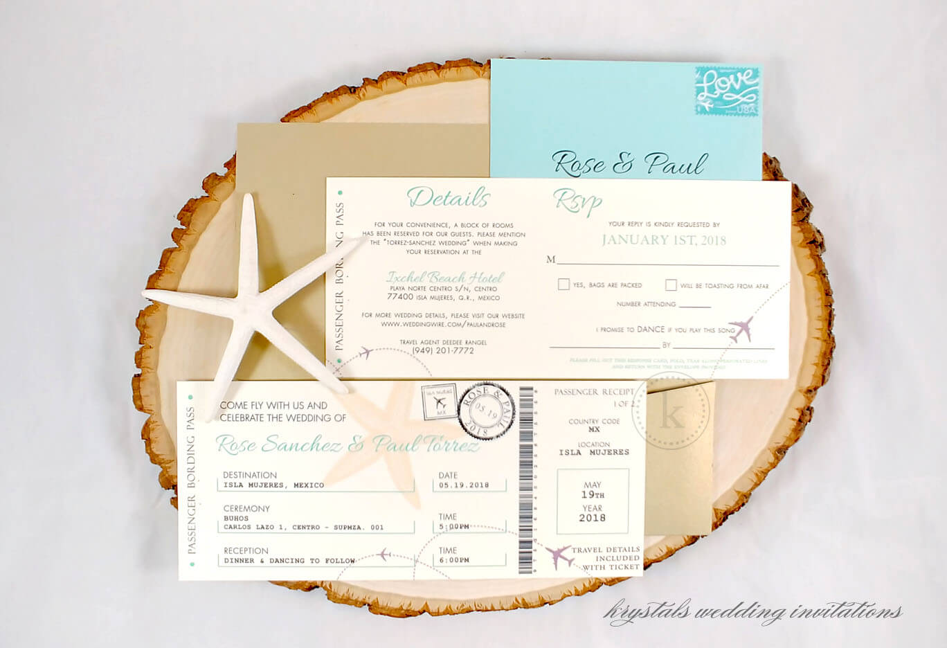 Plane Ticket Wedding Invitations - Krystals Wedding Invitations