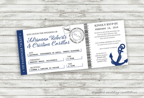 Cruise Ticket Wedding Invitations - Krystals Wedding Invitations