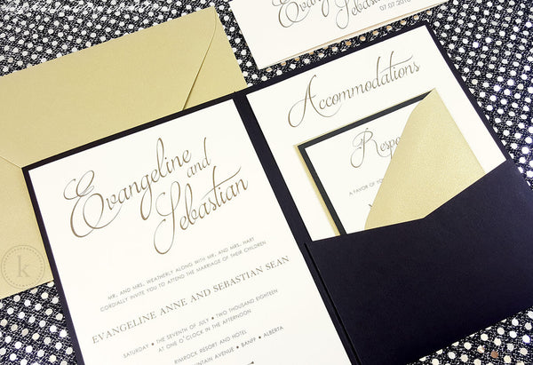 Modern Gold Pocketfold Wedding Invitations - Krystals Wedding Invitations