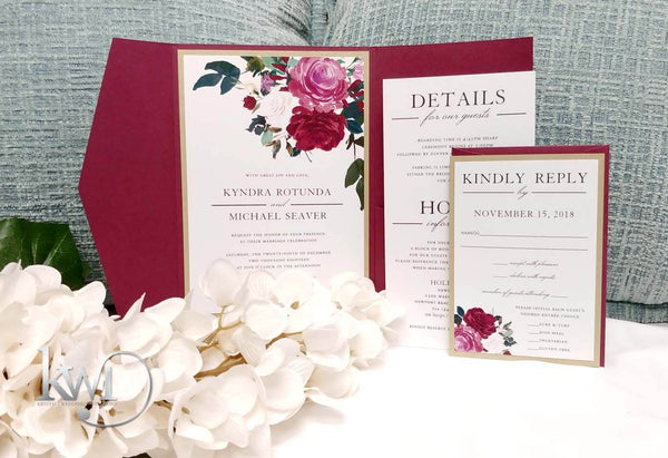 Watercolor Floral Burgundy Wedding Invitation Suite