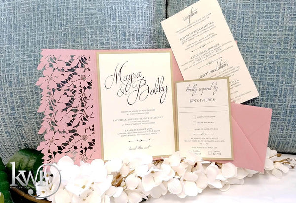 Floral Leaves Laser Cut Wedding Invitation