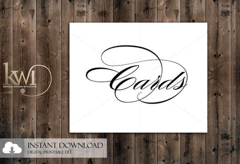 DIY Printables - 8x10 - Cards Sign - Krystals Wedding Invitations