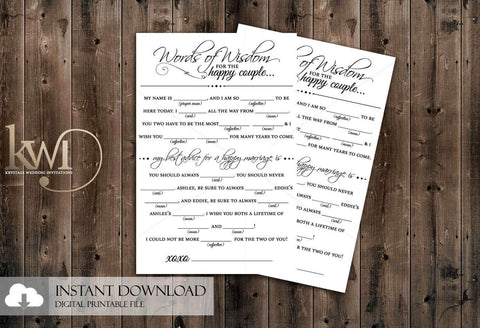 DIY Printables - Mad Lib Advice Card Design - Krystals Wedding Invitations
