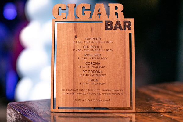 Cigar Bar Menu
