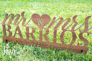 Laser Cut Mr. & Mrs. Tabletop Sign with Stand