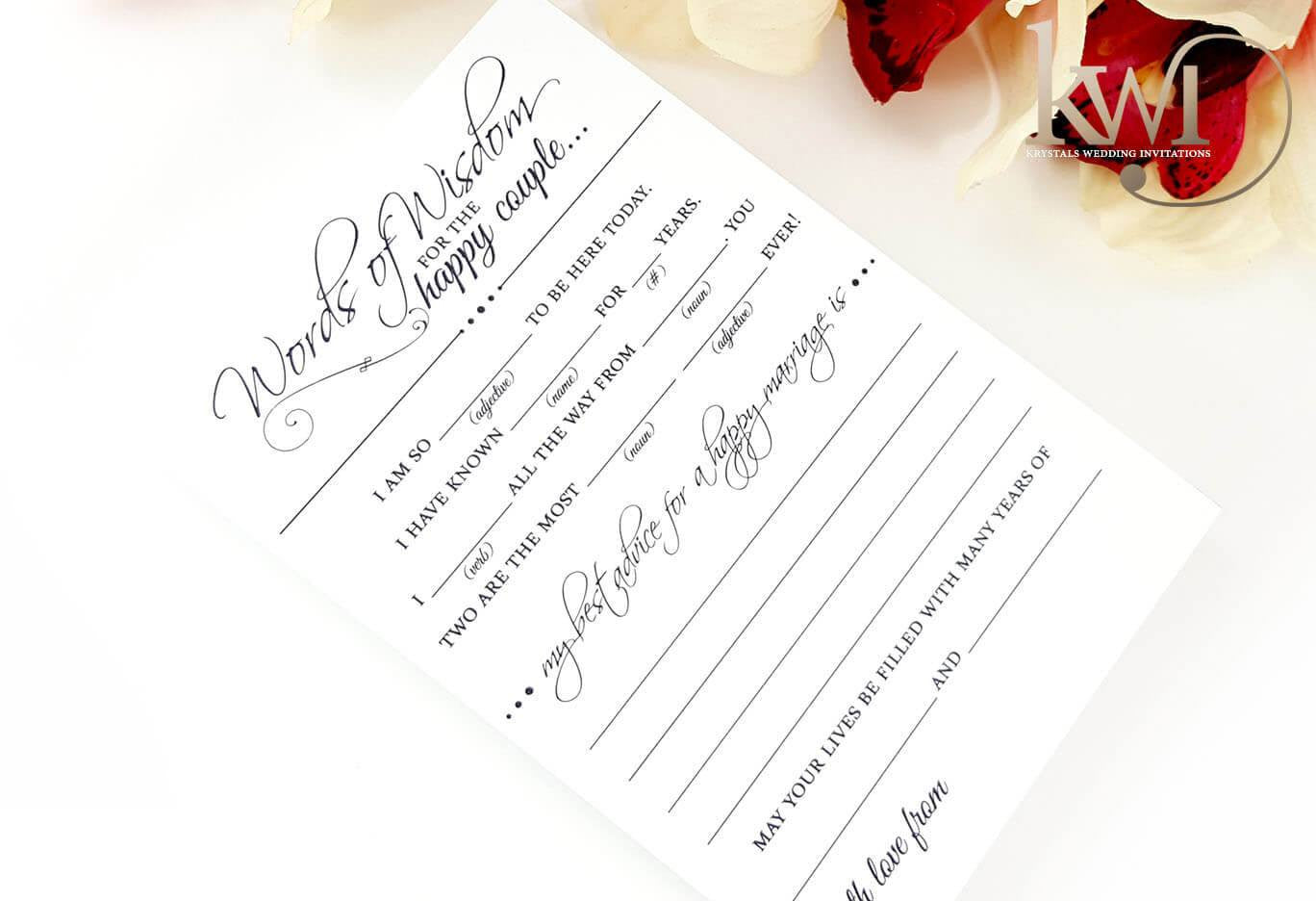 Mad Lib Wedding Advice Cards - Krystals Wedding Invitations