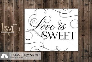 DIY Printables - 8x10 - Love is Sweet Sign - Krystals Wedding Invitations