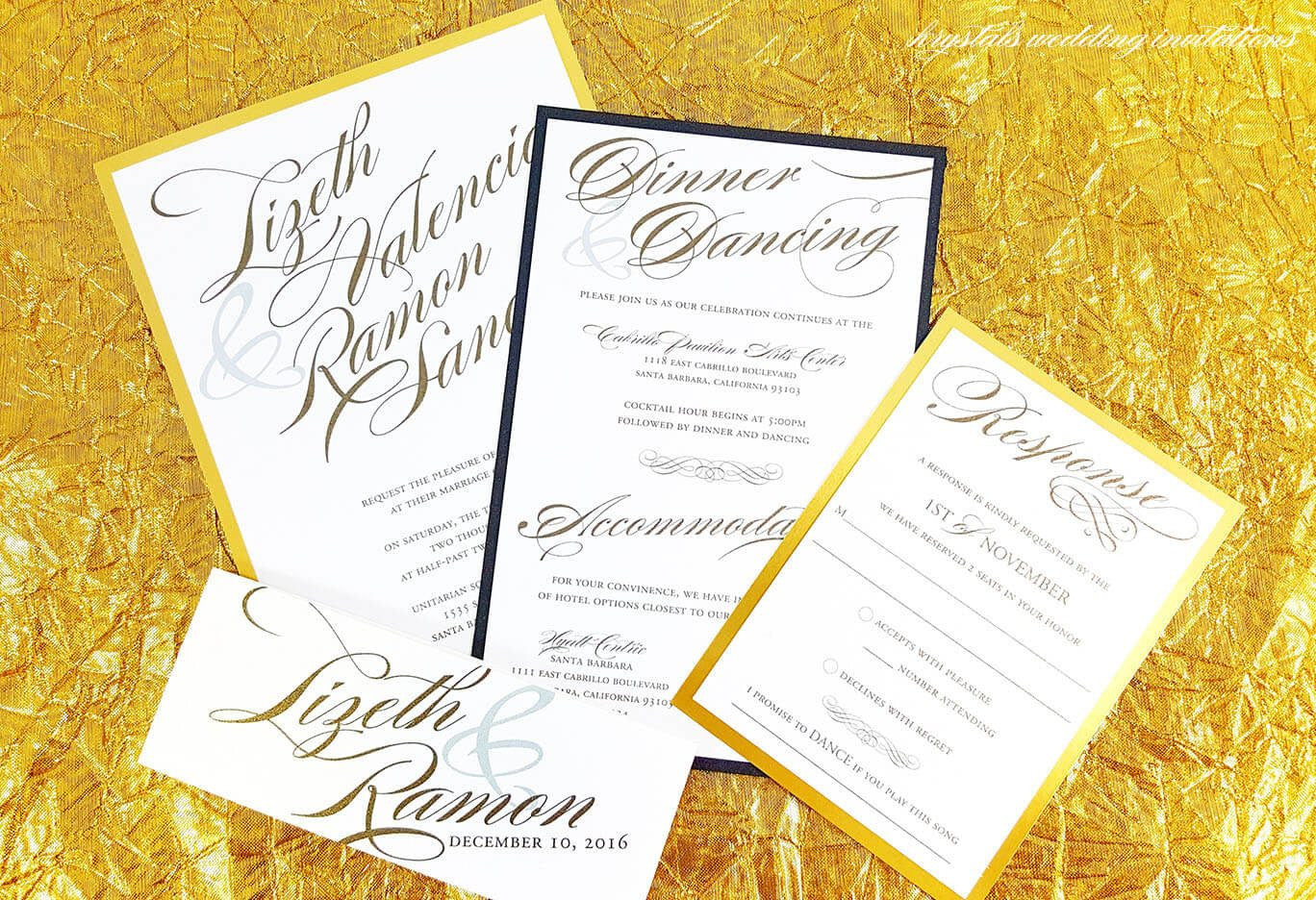 Modern Calligraphy Gold Foil Wedding Invitations - Krystals Wedding Invitations