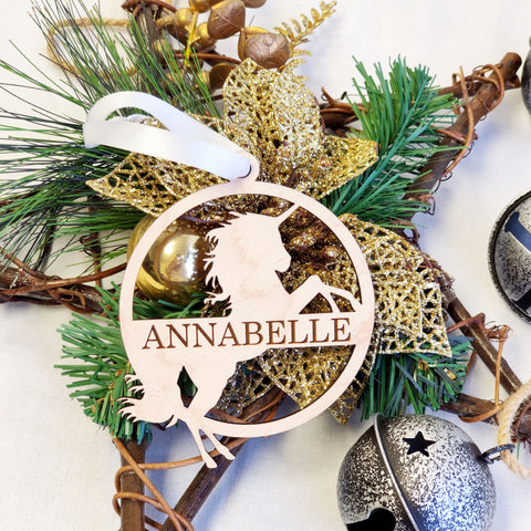 Laser Cut Engraved Unicorn Name Ornament