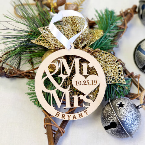 Laser Cut Newlywed Mr. & Mrs. Ornament