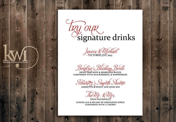 Signature Cocktail Drink Sign