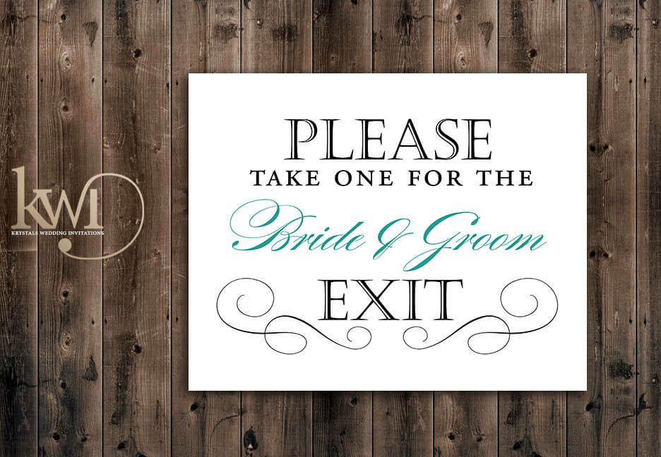Bride and Groom Exit Sign