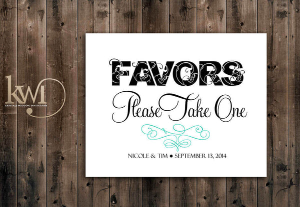 Favors Please Take One Sign