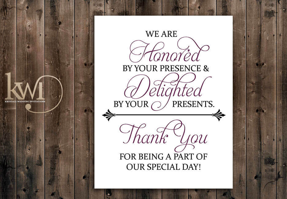 Honored Yet Delighted Wedding Gift Reception Sign
