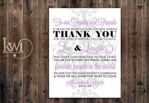 Thank You Friends and Family Sign - Damask