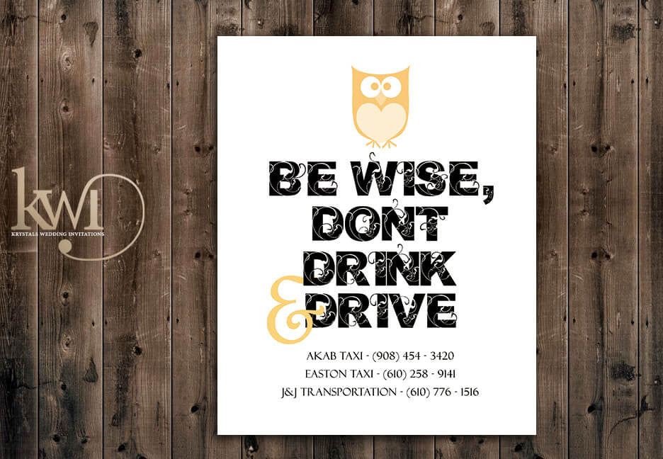 Be Wise, Don't Drink & Drive Sign