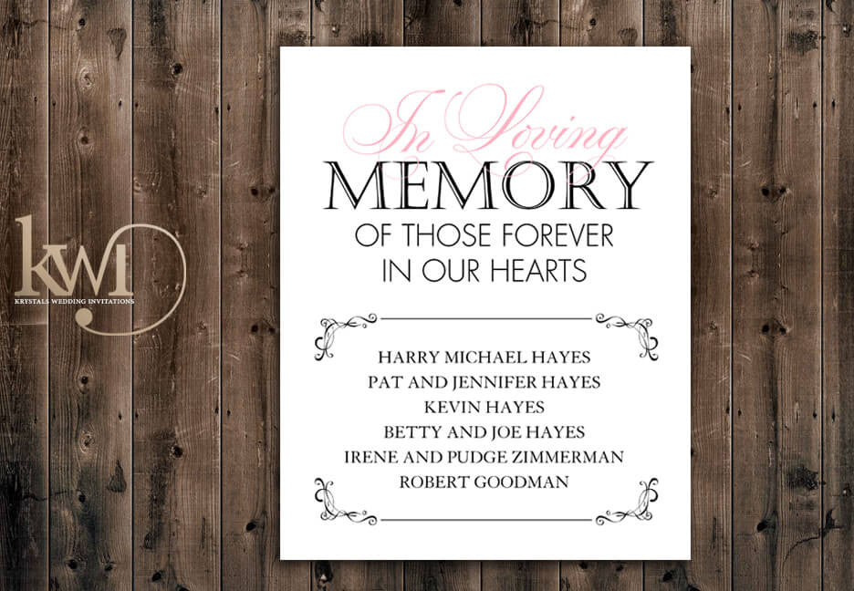 In Loving Memory Sign - Romantically Modern