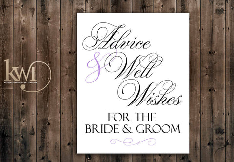 Advice & Well Wishes for the Bride and Groom Sign