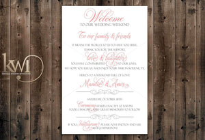 DIY Printables - DIY Wedding Welcome Card Template