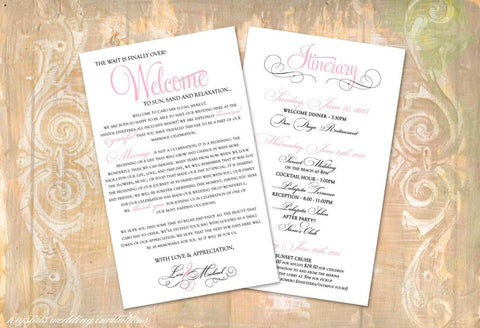 Welcome Itinerary Cards - Destination Wedding