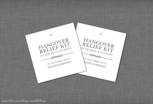 Hangover Kit Wedding Tags - Krystals Wedding Invitations