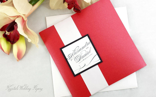 Option #105 - Ribbon Band with Monogram Tag - Krystals Wedding Invitations