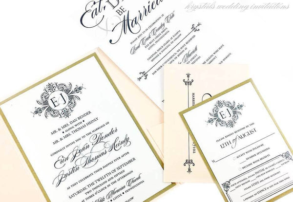 DIY Printables - Erin Monogram Wedding Invitation Design Template - Krystals Wedding Invitations