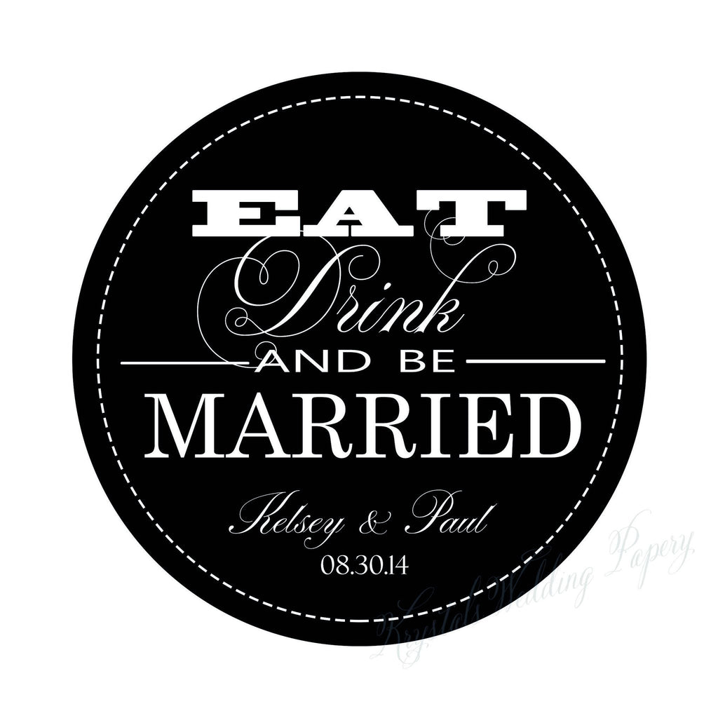 eat, drink and be married wedding labels wedding stickers, Wedding invitations