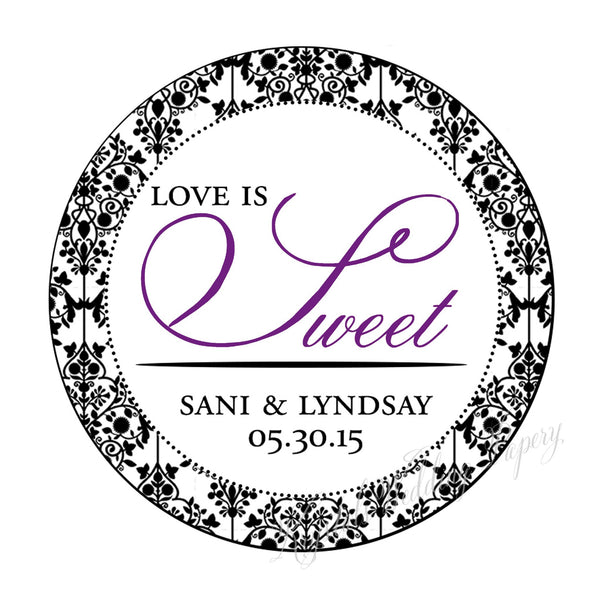 Love is Sweet Damask Wedding Sticker Labels - Krystals Wedding Invitations