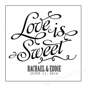 Love is Sweet Personalized Wedding Labels - Krystals Wedding Invitations