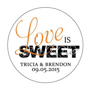 Love is Sweet Wedding Sticker Labels - Krystals Wedding Invitations