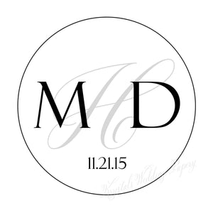 Monogram Wedding Sticker Labels - Krystals Wedding Invitations