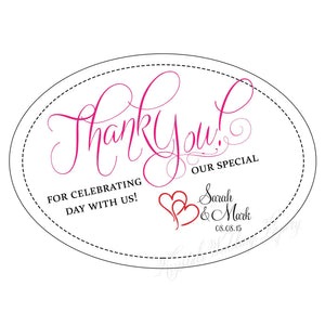 Thank You for Celebrating with Us Wedding Sticker Labels - Krystals Wedding Invitations