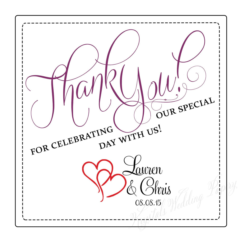 Thank You for Celebrating with Us Wedding Labels