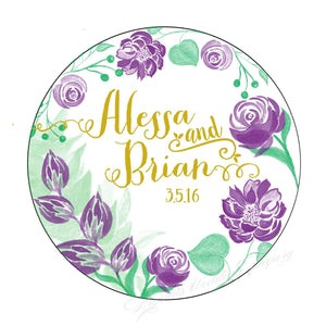 Watercolor Floral Personalized Couples Wedding Labels - Krystals Wedding Invitations