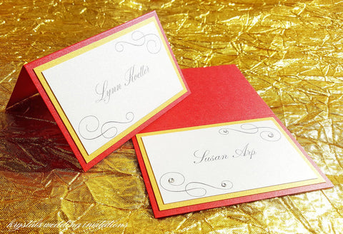 A Touch of Sparkle Tri-layered Wedding Place / Escort Cards - Krystals Wedding Invitations