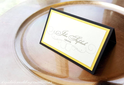 Place Cards - Elegant Tri-Layered Wedding Place / Escort Cards