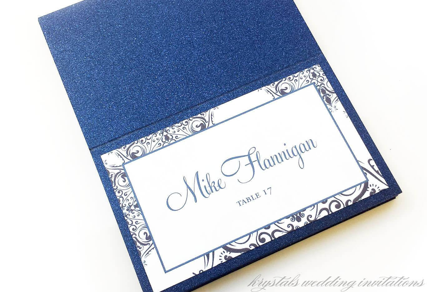 Modern Damask Wedding Place Cards - Handcrafted and Customizable