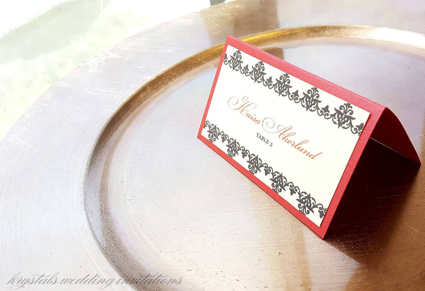 The Catherine Suite - Old Hollywood Style Wedding Place / Escort Cards - Krystals Wedding Invitations