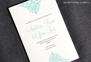 Damask Script Wedding Programs - Krystals Wedding Invitations