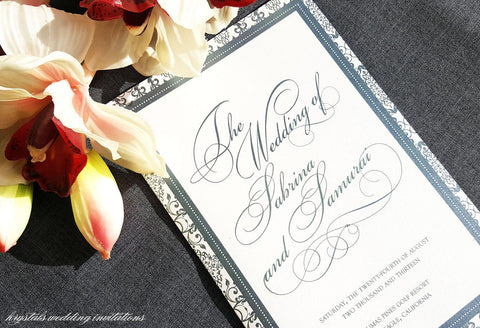 Damask Vintage Style Wedding Programs - Krystals Wedding Invitations