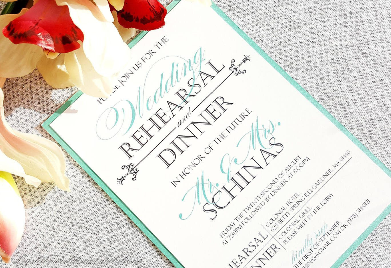 In Honor of the Future Mr. & Mrs. Wedding Rehearsal Dinner Invitations